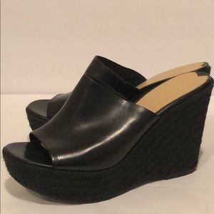 Via Spiga Leather Espadrille Wedge Mules (8.5)